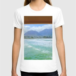 ocean view with mountain and blue cloudy sky background at Kauai, Hawaii, USA T-shirt