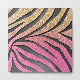 Gold Glitter & Pink Zebra Stripes on Dark Metallic Metal Print