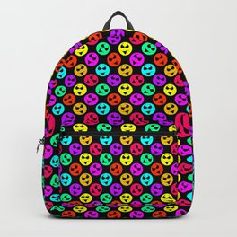 Mini Smiley Bikini Bright Neon Smiles on Black Backpack