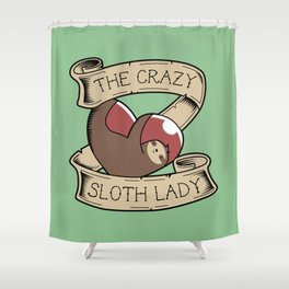 Crazy Sloth Lady Tattoo Shower Curtain