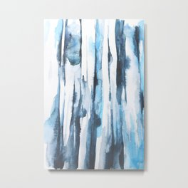Blue Ice Watercolor Metal Print
