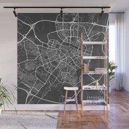 Zaragoza Map, Spain - Gray Wall Mural