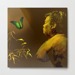 The short-lived life of the butterfly and the sumo wrestler Metal Print
