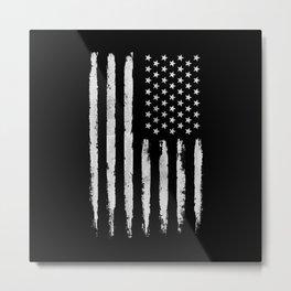 White grunge American flag Metal Print