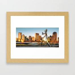 Traveling Man - Dallas Skyline Panorama Framed Art Print