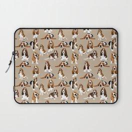 Basset Hounds on Tan Laptop Sleeve
