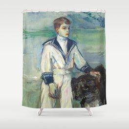 """Henri de Toulouse-Lautrec """"L'Enfant au chien, fils de Madame Marthe et la chienne Pamela-Taussat"""" Shower Curtain"""