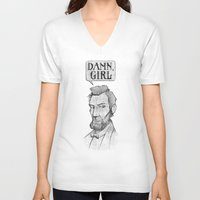 lincoln V-neck T-shirts featuring Damn, Lincoln by dellydel