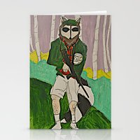 racoon Stationery Cards featuring racoon hunter by Laura Eckes