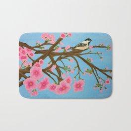 Chickadee on Cherry Tree Bath Mat