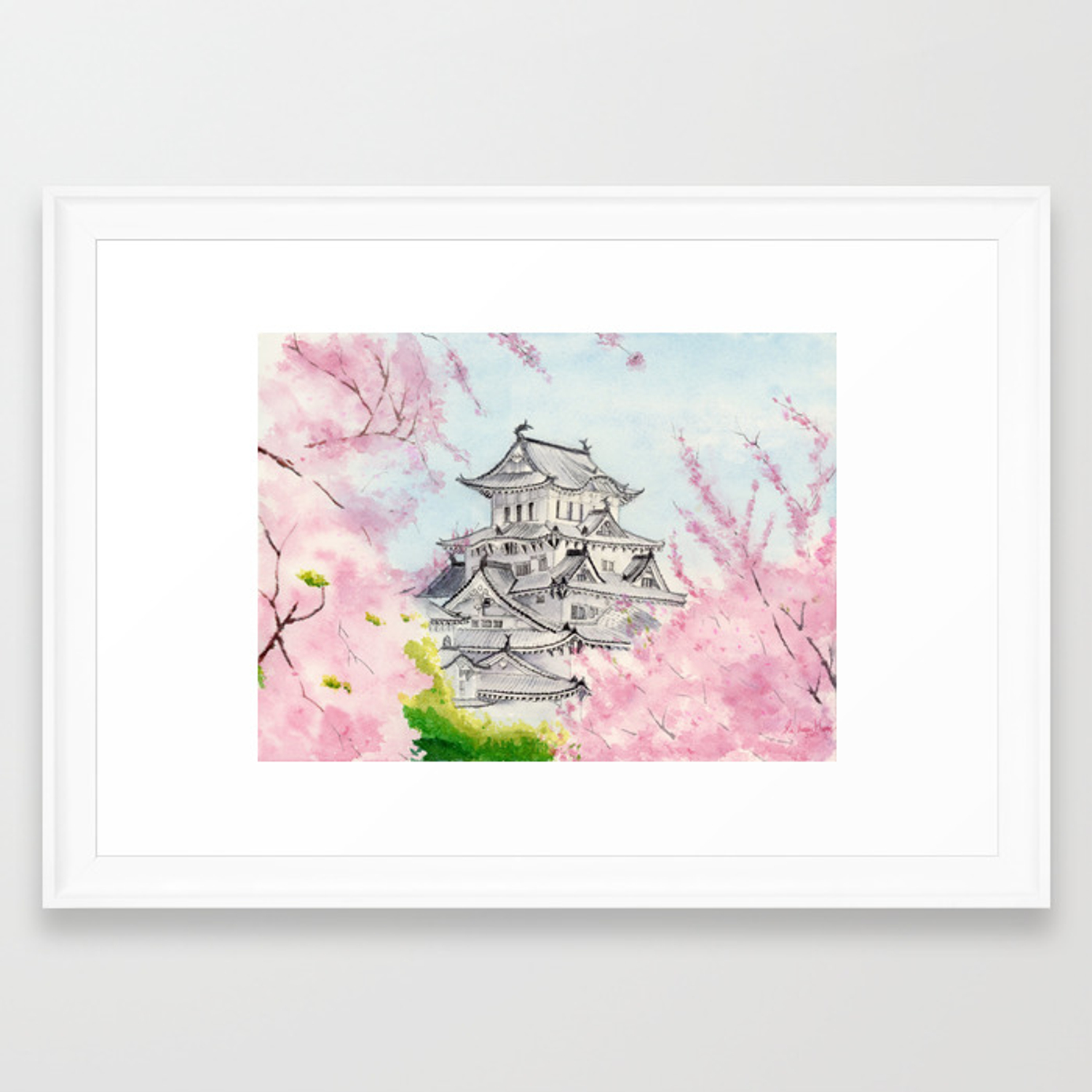 Himeji Castle Art Watercolor Painting Print By Suisai Genki Cherry Blossom Japanese Castle Framed Art Print By Suisaigenki Society6