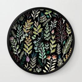 Dark Botanic Wall Clock