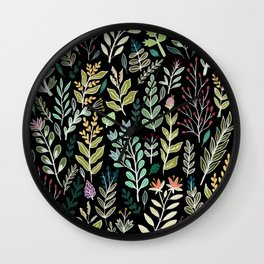 Dark Botanic Wall Clock