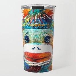 Sock Monkey Art - Your New Best Friend - By Sharon Cummings Travel Mug