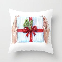 Cadeau du Nouvel An pour les proches. Throw Pillow