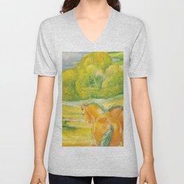 """Franz Marc """"Large Landscape I (Landschaft I)"""" Unisex V-Neck"""
