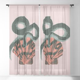 Black coral snake on pink background Sheer Curtain