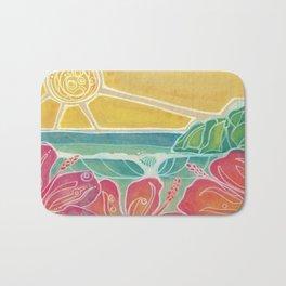 Triple Hibiscus Surf Art by Lauren Tannehill Art Bath Mat