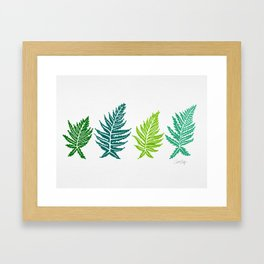 Inked Ferns – Green Palette Framed Art Print