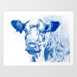 Ardnamuchan Coo - Blue Art Print