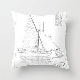 Vintage black & white sailboat blueprint drawing antique nautical beach or lake house preppy decor Throw Pillow