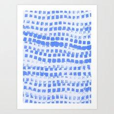 Abstract azure navy pattern Art Print