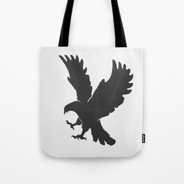 vector silhouette flying eagle on a white background Tote Bag