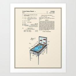 Pinball Machine Patent - Colour Art Print
