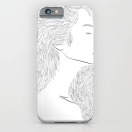 Woman Hairstyle 03 Line Art iPhone Case