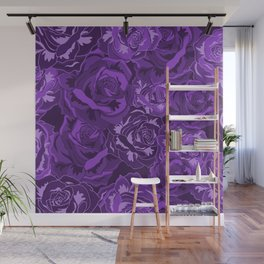 Flowers Rose Pattern Purple Roses Design Floral Decor Wall Mural