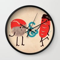 rock and roll Wall Clocks featuring Rock & Roll by Roland Lefox