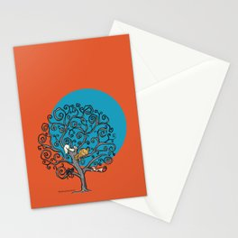 Cats under the blue moon Stationery Cards