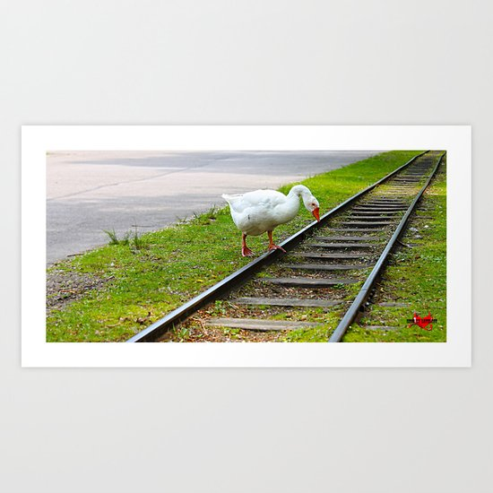 Why did the chicken cross the road? Who cares, I cross train tracks!! Art Print