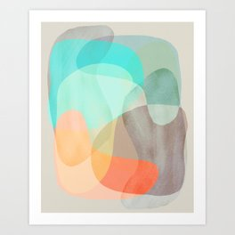 Shapes and Layers no.29 - Blue, Orange, Gray, abstract painting Art Print