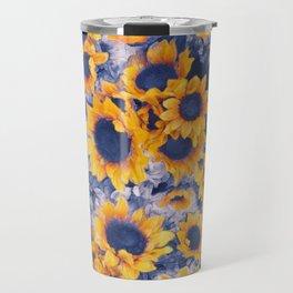 Sunflowers Blue Travel Mug