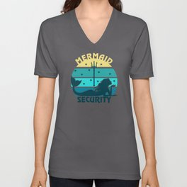 Mermaid Security Retro Design Unisex V-Neck