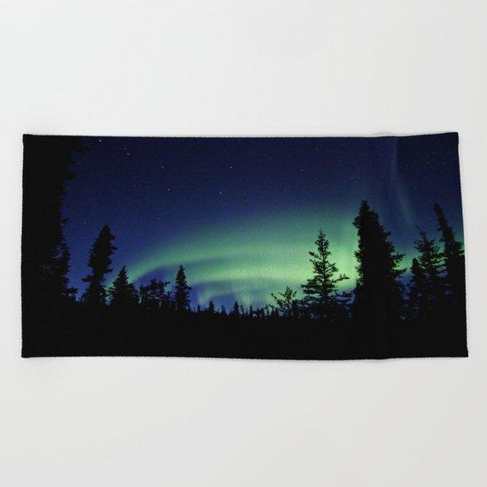 Aurora Borealis Landscape Beach Towel