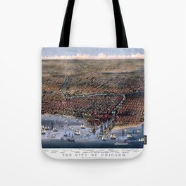 CHICAGO ILLINOIS 1874 city old map Father Day art print poster Tote Bag