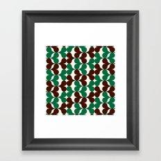 Retro heart pattern green & brown. Framed Art Print