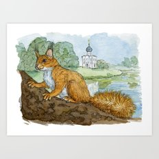 Red Russian Squirrel 449 Art Print