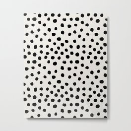 Preppy brushstroke free polka dots black and white spots dots dalmation animal spots design minimal Metal Print