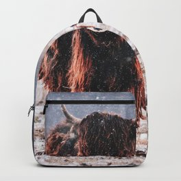 Bison in the snow Backpack