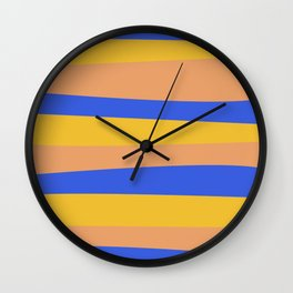 Groovy Stripes Pattern in Cobalt Blue, Mustard Yellow, and Peach Wall Clock