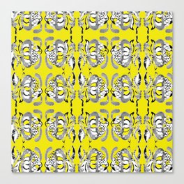 Classic contemporary flower tile design in yellow and grey tones Canvas Print