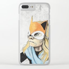 Fox Mask Girl Clear iPhone Case