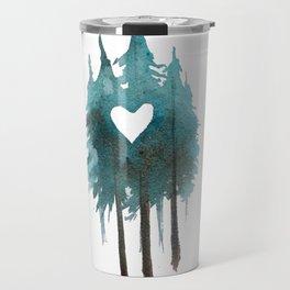 Forest Love - heart cutout watercolor artwork Travel Mug