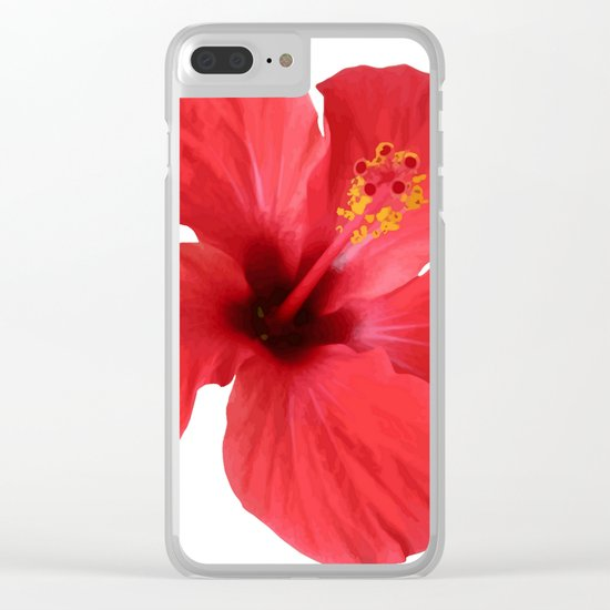 Scarlet Hibiscus Tropical Flower Vector Clear iPhone Case