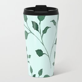 Light Cyan Soft Mint Green Leaves Greenery Pattern Modern Décor Travel Mug