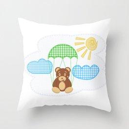Cute teddy bear on parachute Throw Pillow