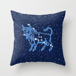 Taurus Constellation and Zodiac Sign with Stars Throw Pillow